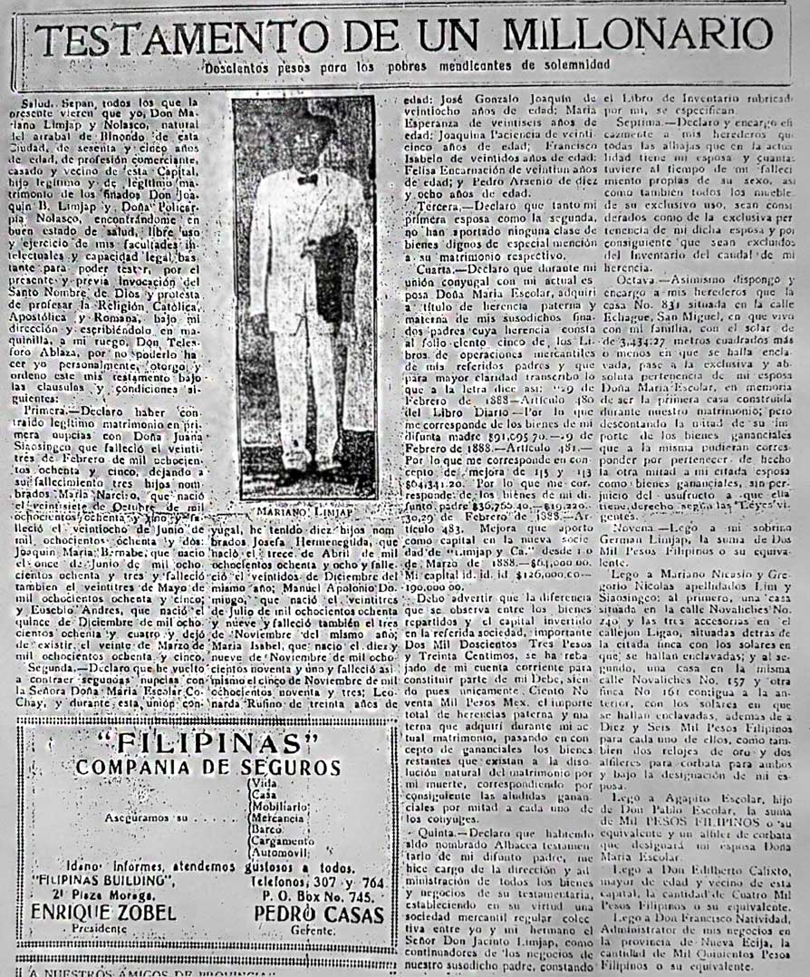Lolo Mariano's will was printed as news in The Independent shortly after his death in 1926.