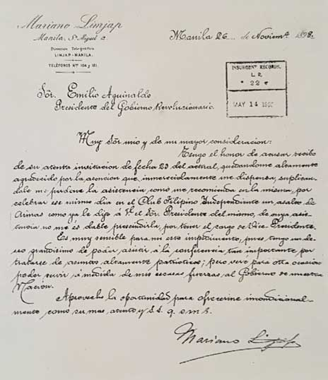 Letter of Mariano Limjap to President Emilio Aguinaldo dated November 26, 1898 during the Philippine Revolution.